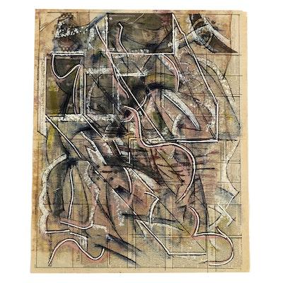 Ricardo Morin Abstract Mixed Media Painting on Newspaper