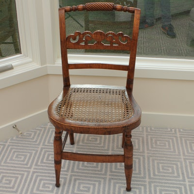 Antique Ladder Back Cane Seat Chair Ebth