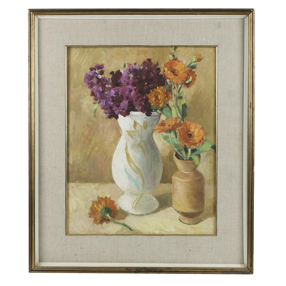 Salvatore A. D'Amato Floral Still-life Oil on Board