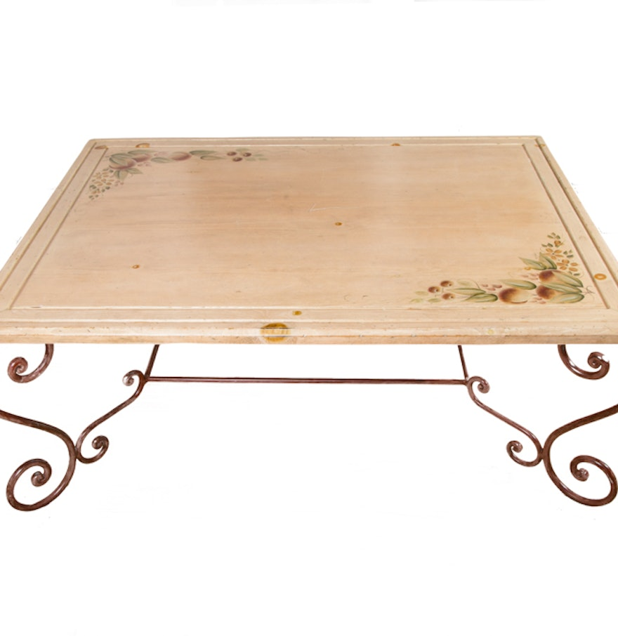 Scrolled metal and wood coffee table - Coffee Table With Scrolled Metal Legs