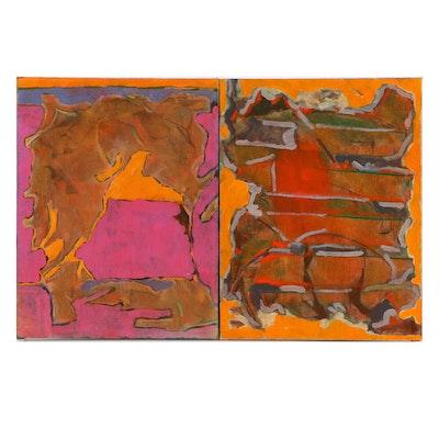 "Ricardo Morin Oil Painting on Linen ""Silent Diptych"""
