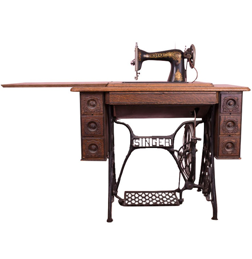 Antique singer sewing machine table ebth - Singer sewing machine table ...