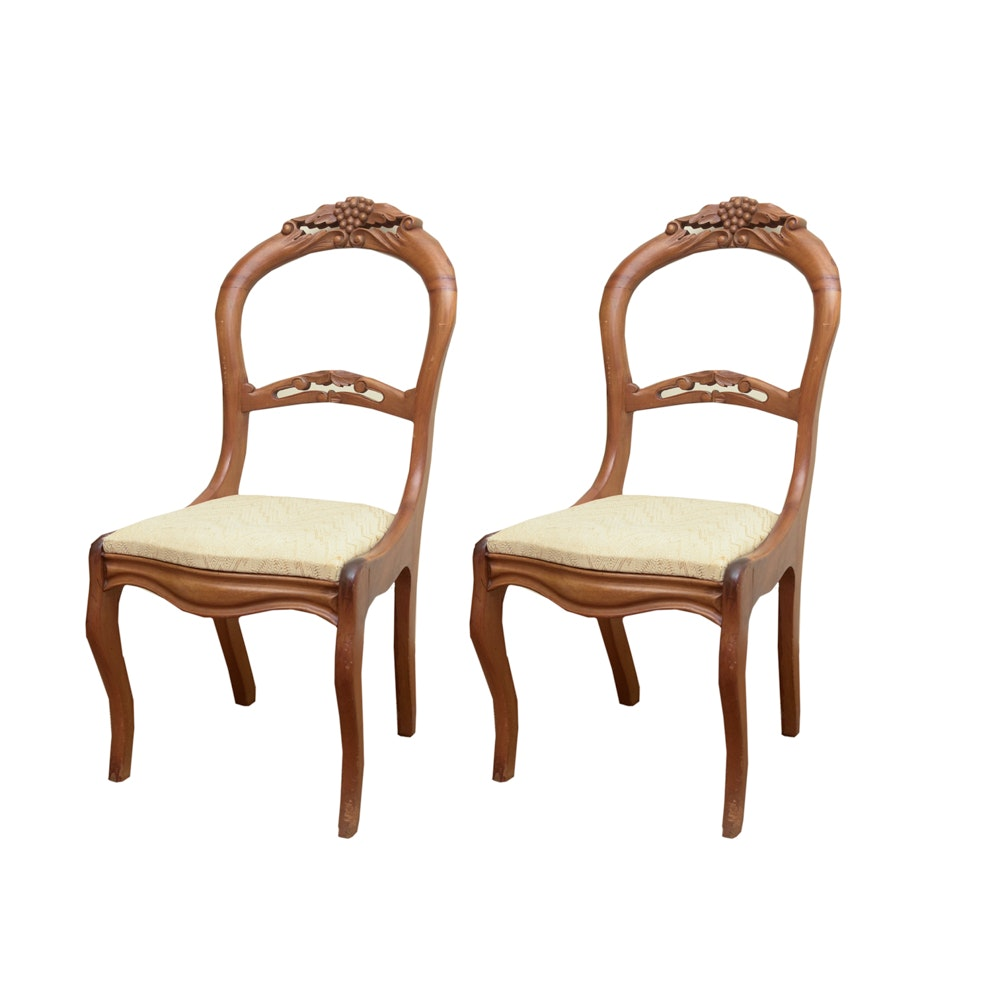 Pair of Carved Walnut Balloon Back Side Chairs