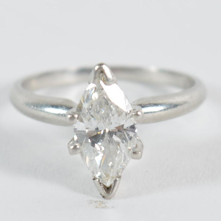 1.36 CT Platinum Diamond Solitaire Ring