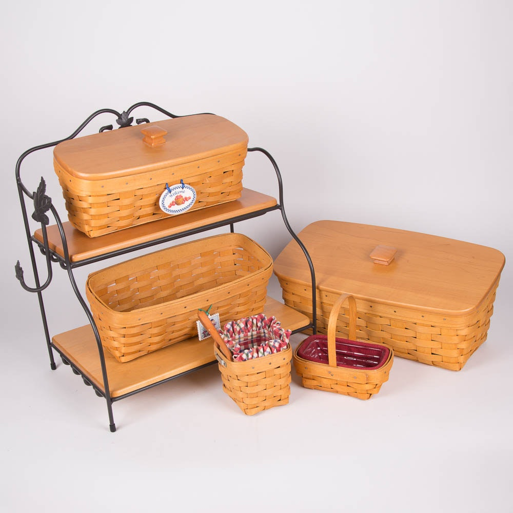 Assortment of Signed Longaberger Baskets with Wrought Iron Stack Rack Shelving