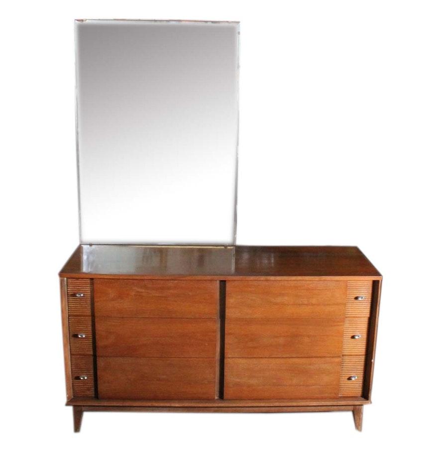 mid century modern dresser with vanity mirror ebth. Black Bedroom Furniture Sets. Home Design Ideas