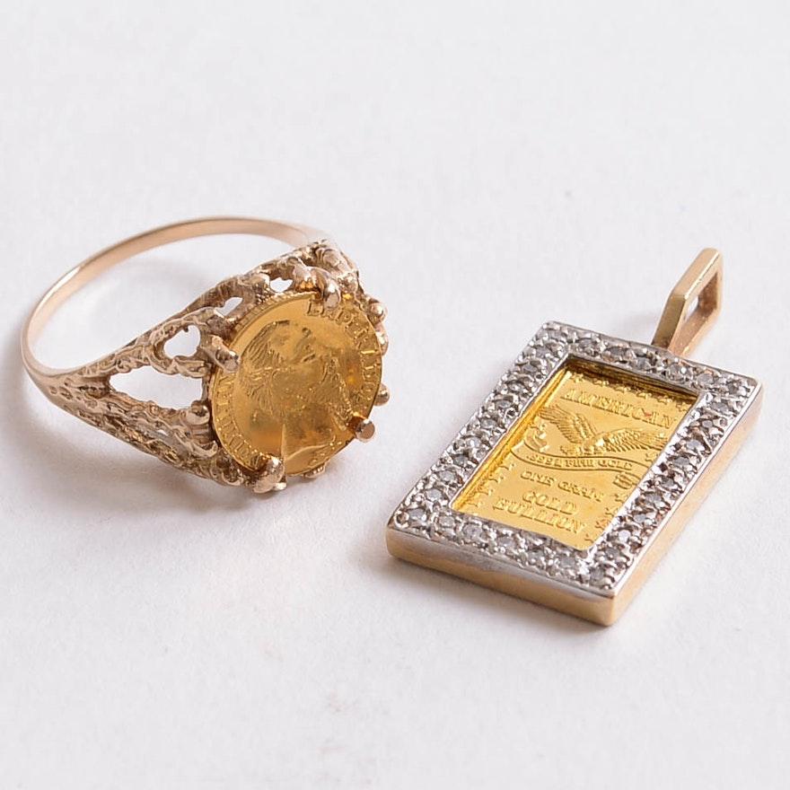 14k diamond 1 gram gold pendant and 1865 maximilian token ring ebth 14k diamond 1 gram gold pendant and 1865 maximilian token ring aloadofball Images