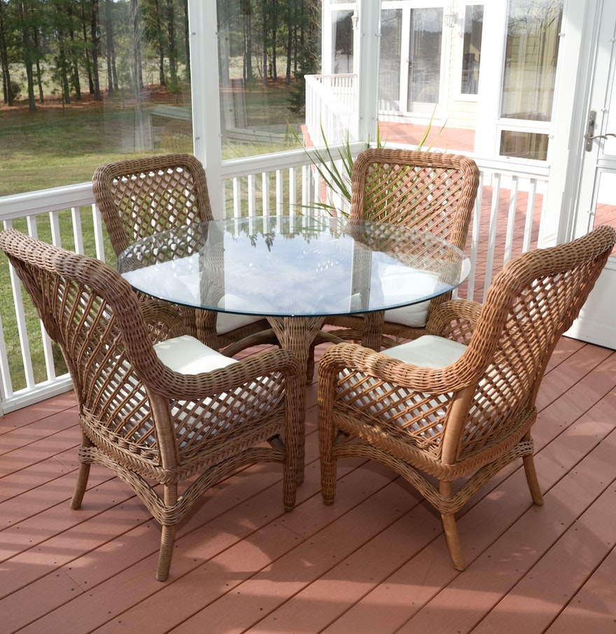 Contemporary wicker patio dining table and chairs ebth for Modern wicker dining chairs