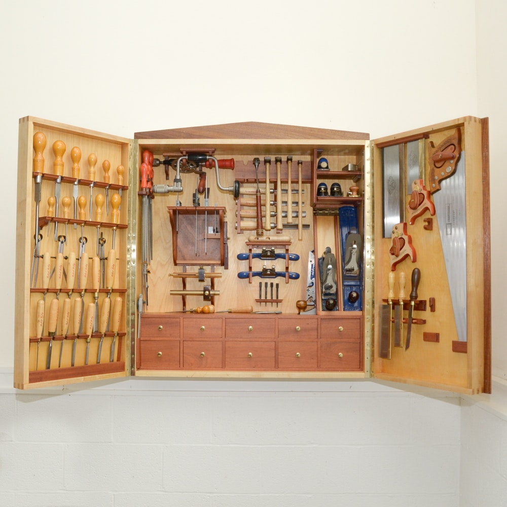 Custom Made Wall-Mounted Tool Cabinet with Hand Tools