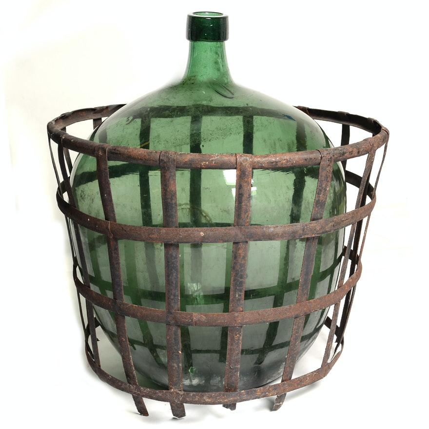 Large Green Hand Blown Glass Vase In Basket Ebth