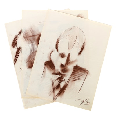 Collection of Ricardo Morin Pastel Sketches on Paper