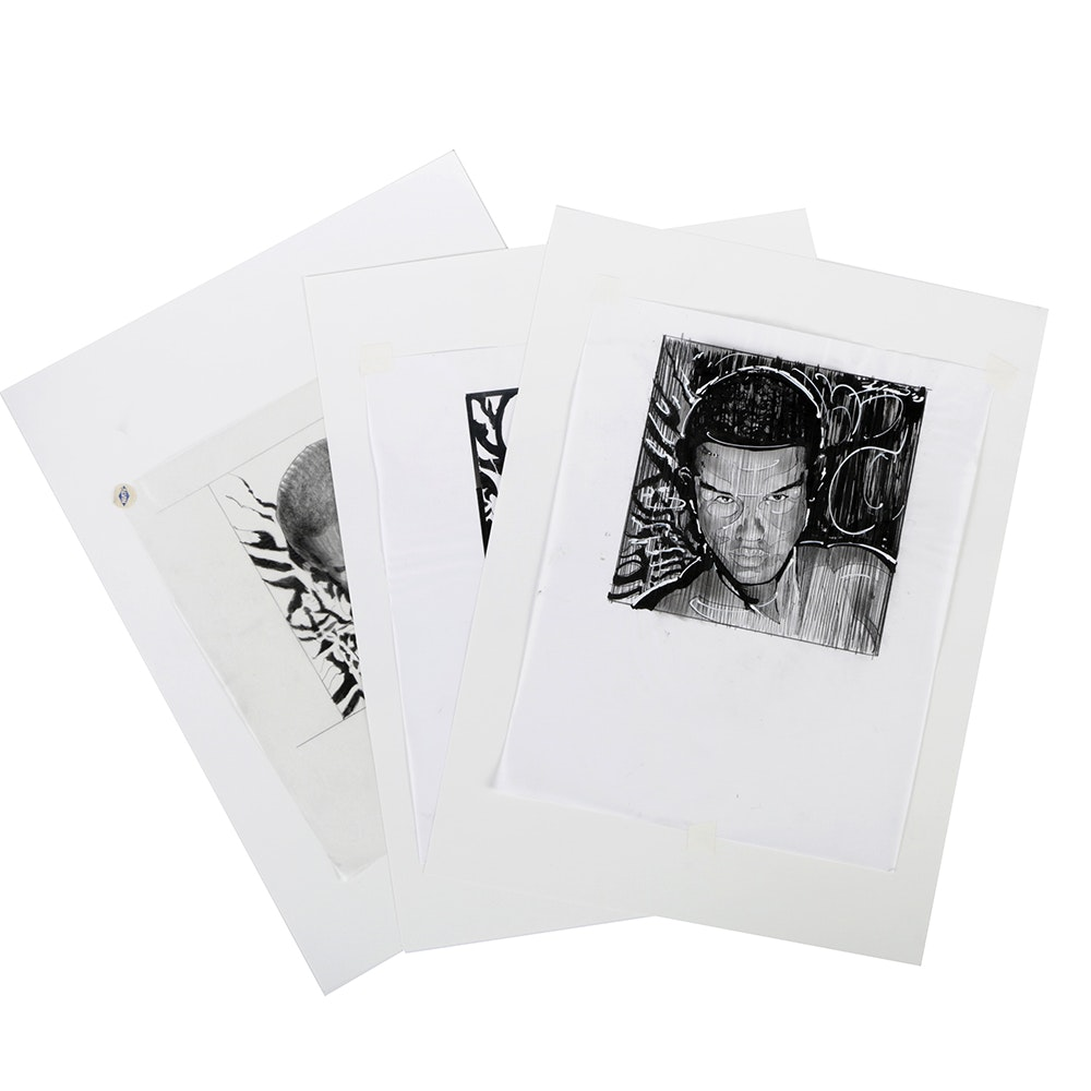 Assortment of Ricardo Morin Ink and Graphite Portrait Studies on Tracing Paper