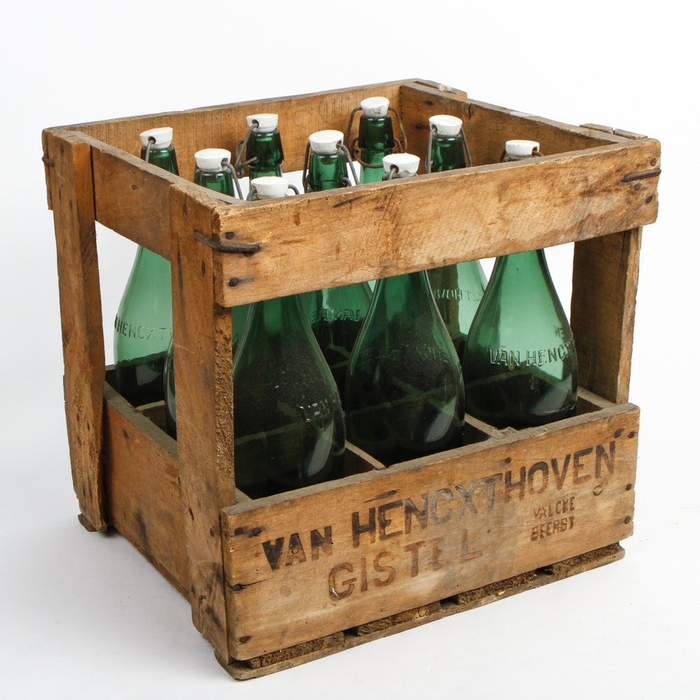 Vintage Glass Beer Bottles and Wooden Crate