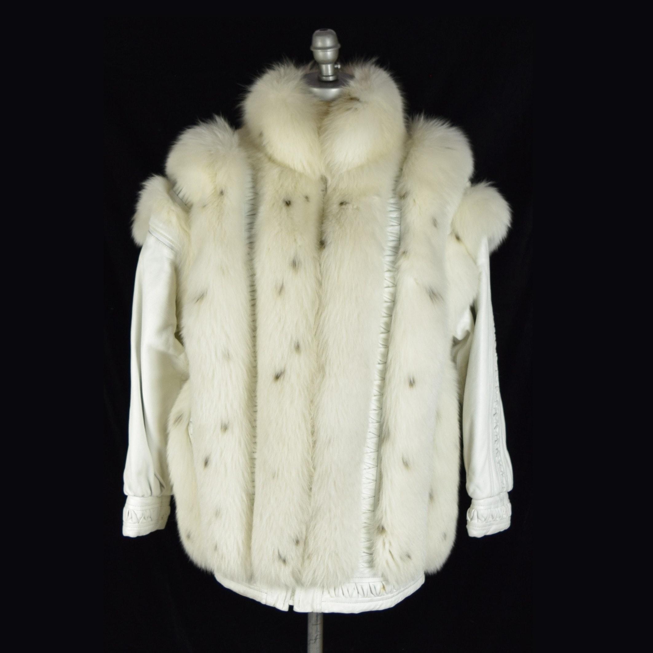 Ladies White Fox Convertible Coat/Vest by Pierre Cardin