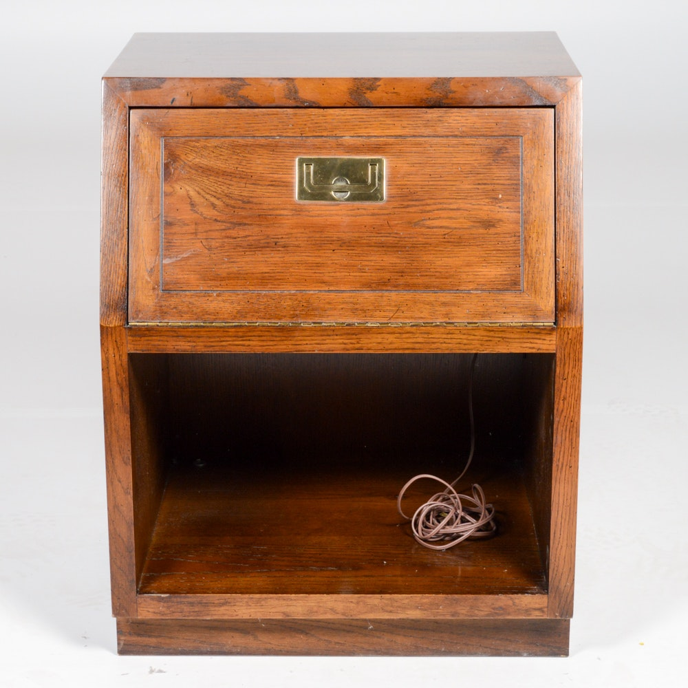 Vintage Campaign Style Nightstand by Henredon