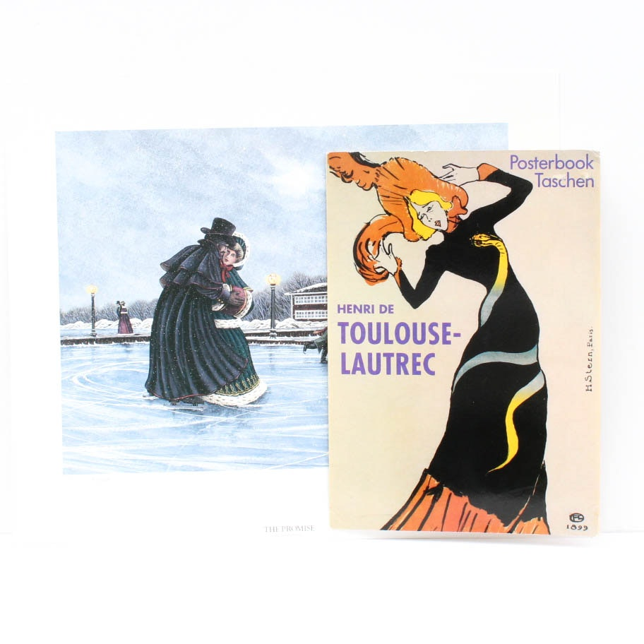 Art Print Collection Including Toulouse Lautrec Posters
