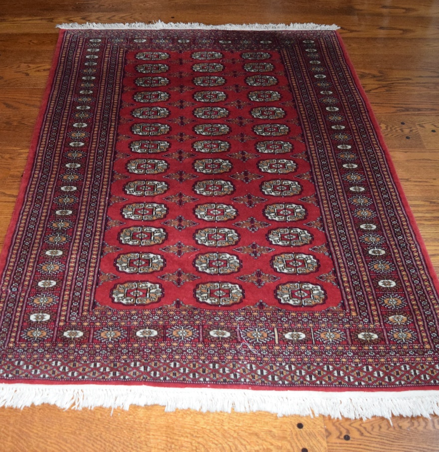 Persian Bokhara Hand Knotted Wool Area Rug: Khan Oriental Hand Knotted All Wool Bokhara Rug : EBTH