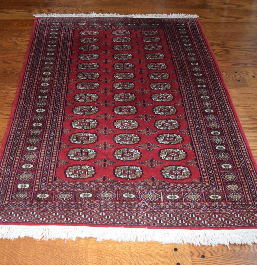 Pakistan Mori Bokhara Rug In Red: Khan Oriental Hand Knotted All Wool Bokhara Rug : EBTH