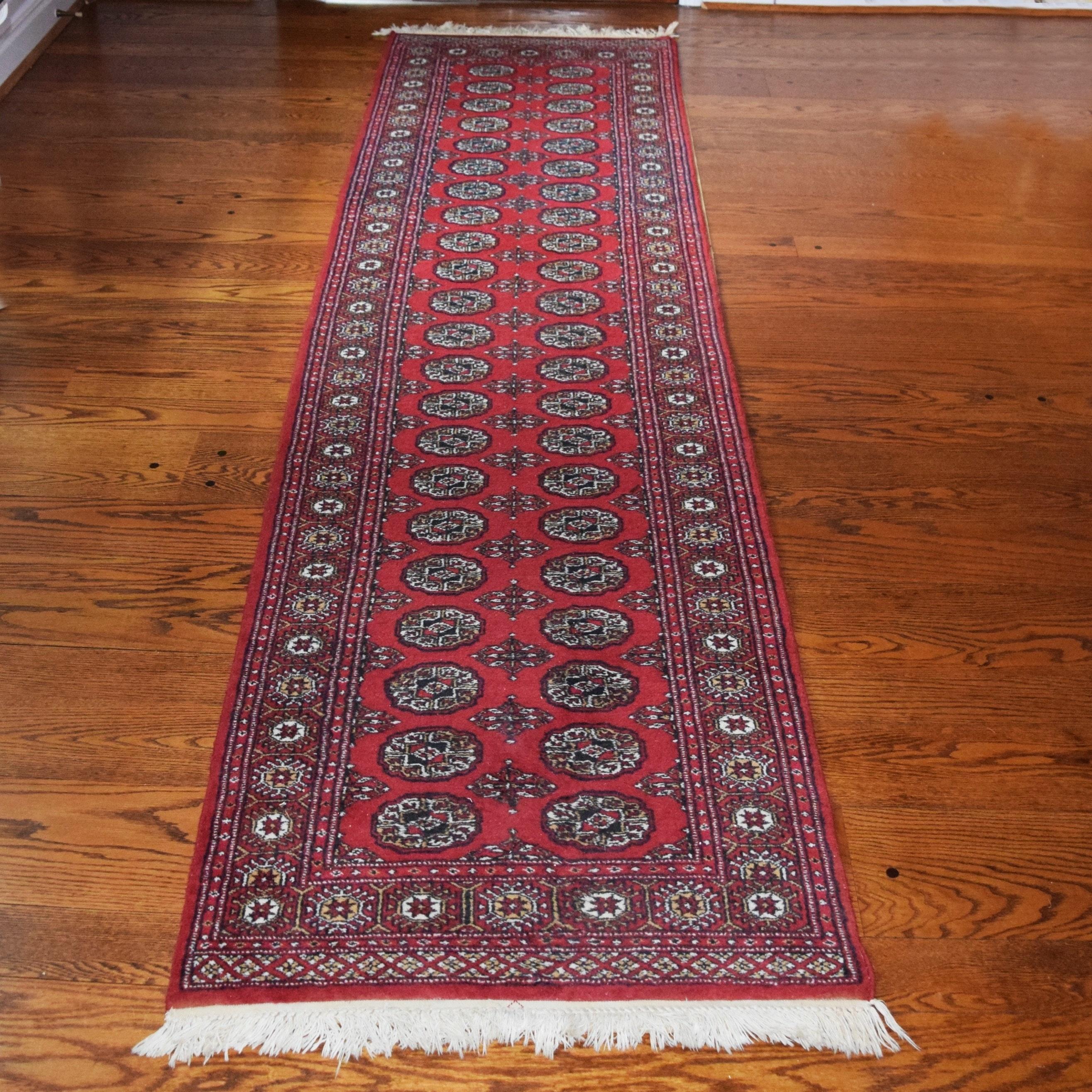 Hand Knotted Pakistani Bokhara Carpet Runner Ebth