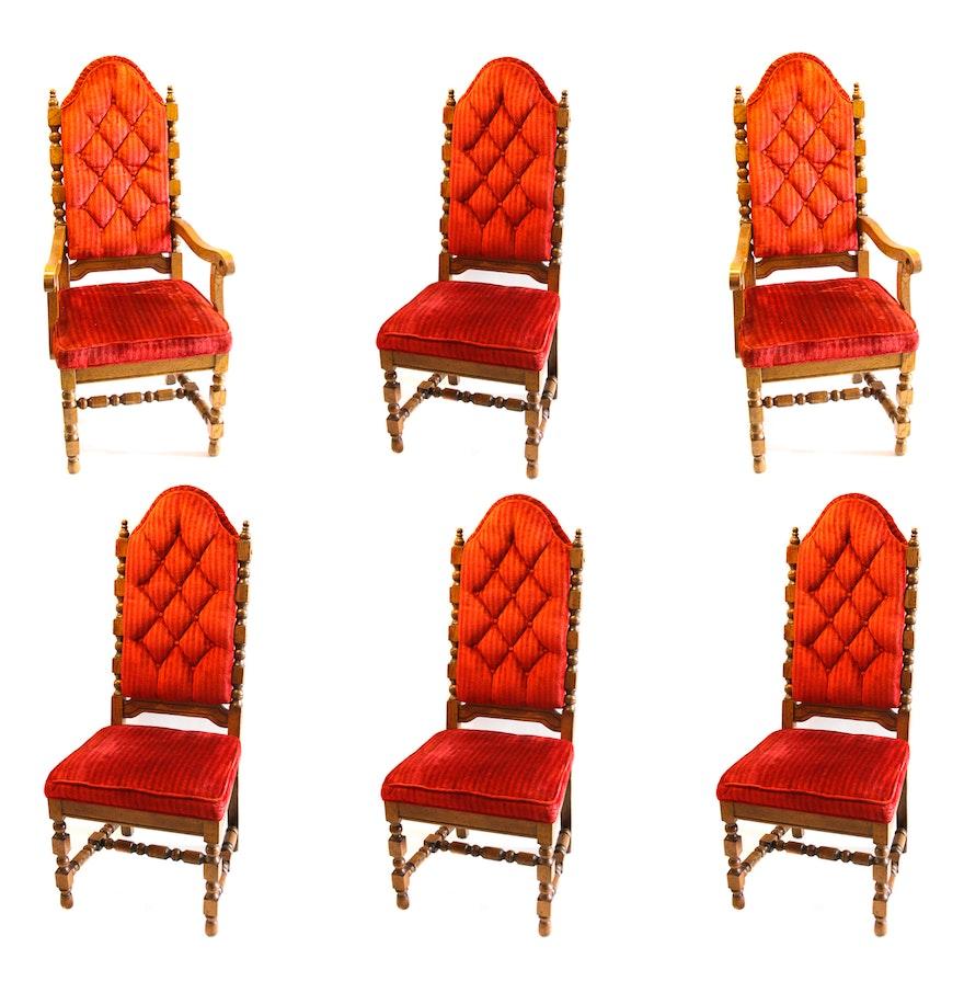 Set of velvet red upholstered dining chairs ebth for Red upholstered dining chair