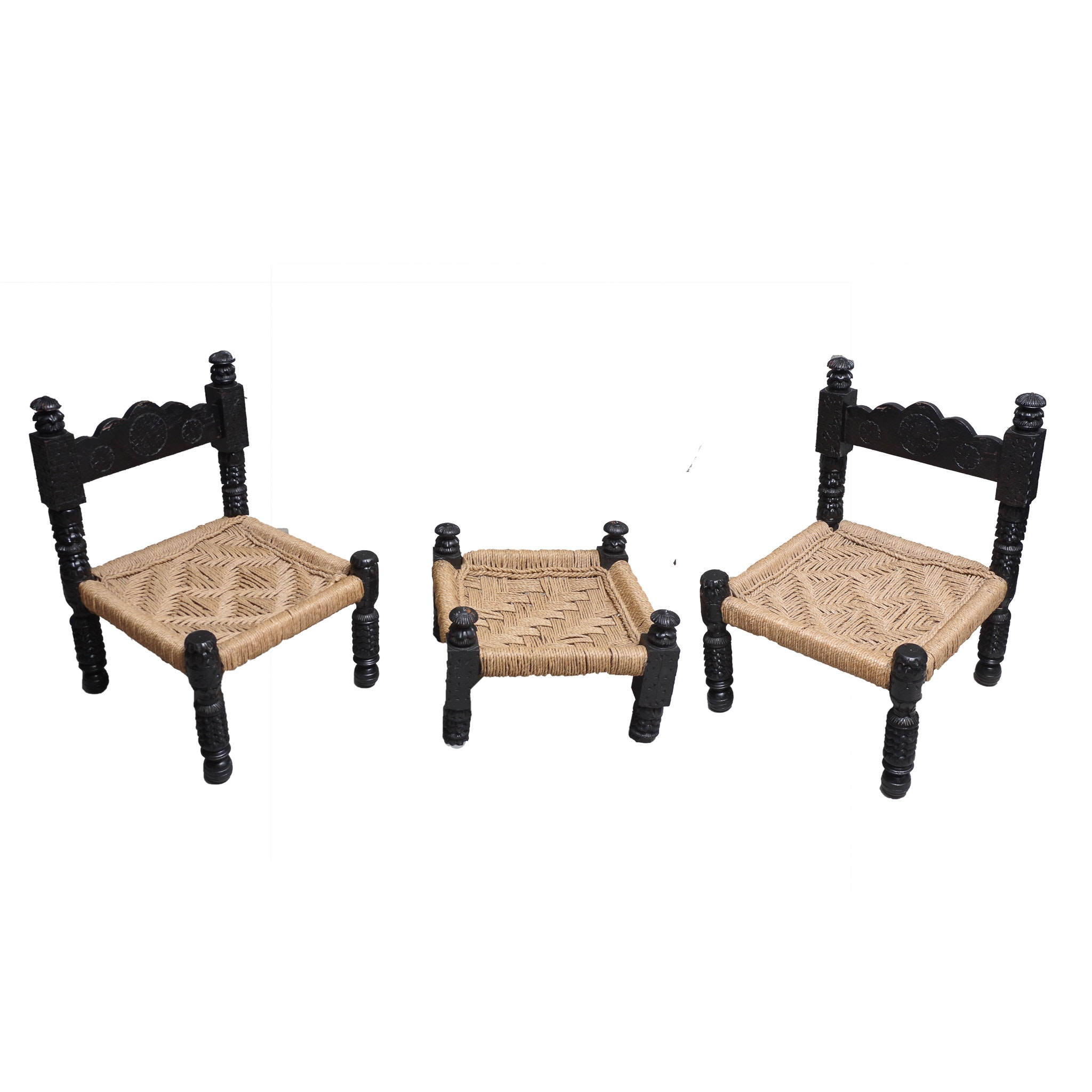 Ordinaire Pair Of Anglo Indian Carved Ebony And Jute Chairs And Ottoman ...