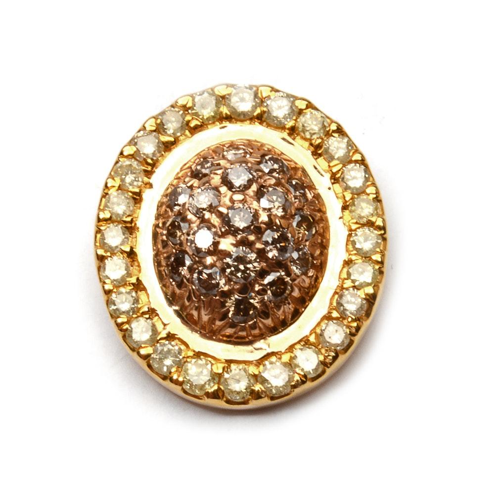12 Karat Gold Pendant with Diamonds