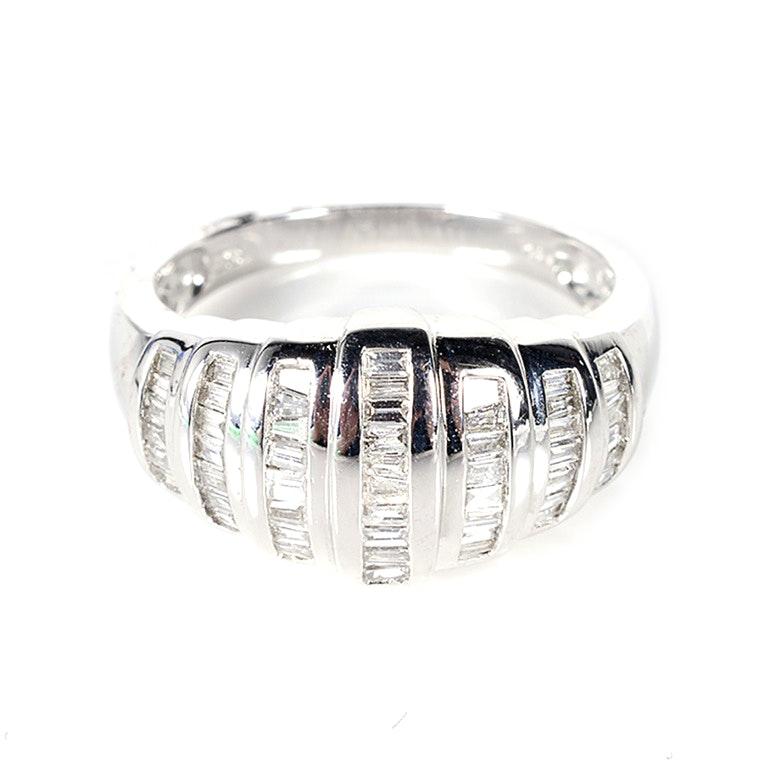 14 Karat White Gold Ring with Diamonds