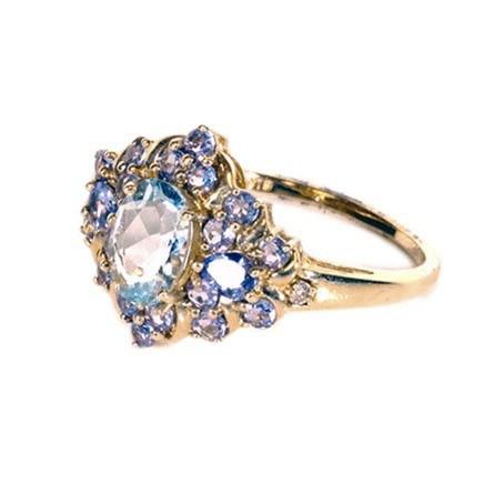 14K Yellow Gold Ring with Aquamarine, Tanzanite, and Diamond Stones