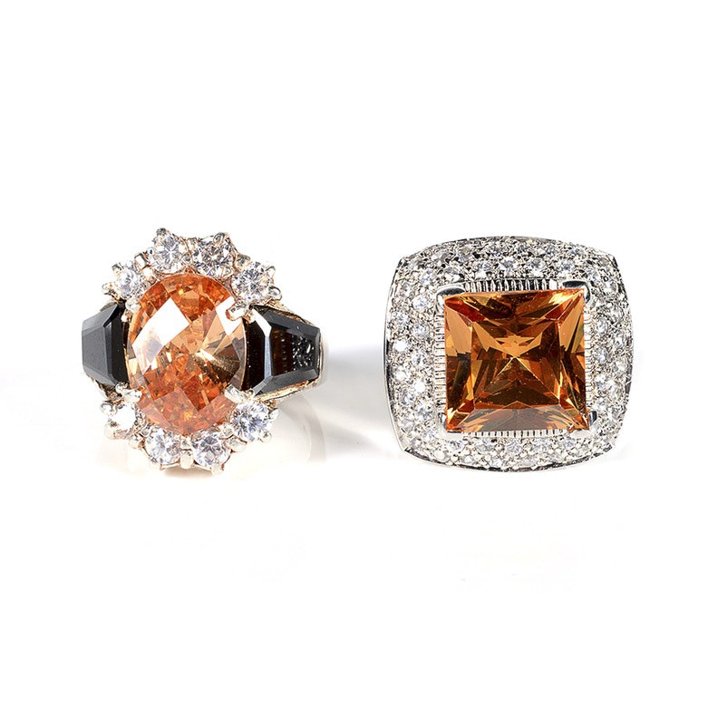 Two Sterling Silver Rings With Simulated Citrine