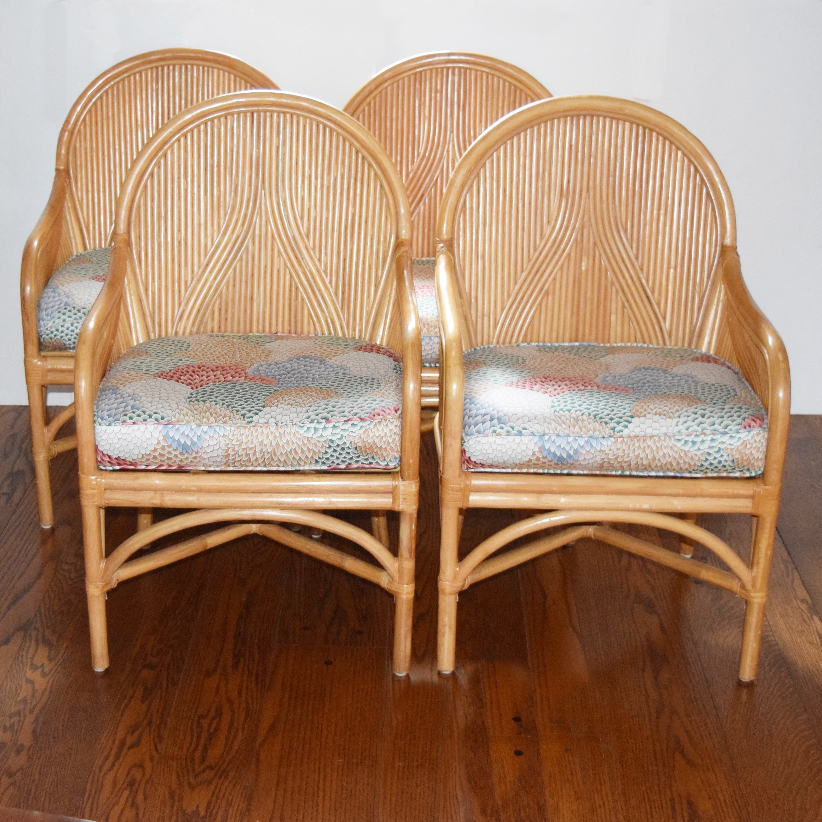 Four Blonde Bentwood and Rattan Club Chairs