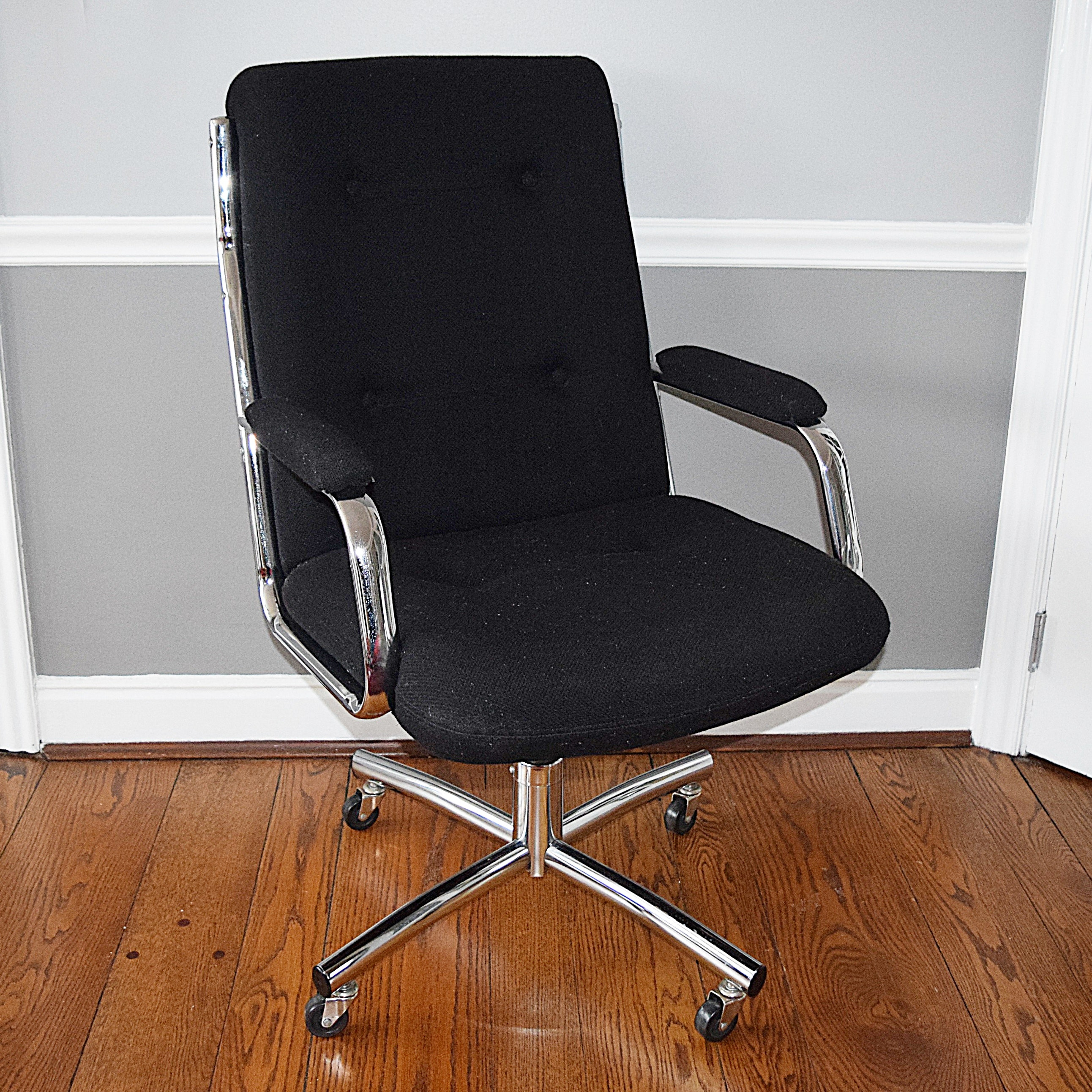 Black Fabric Office Chair on Chrome Plated Base with Castors