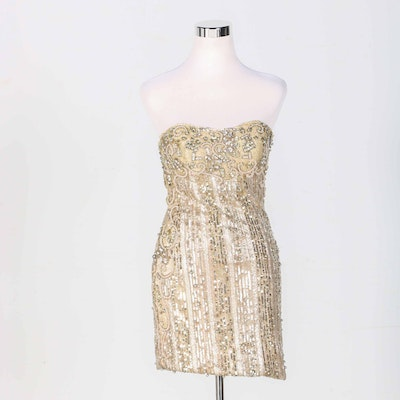 76643b8dc58 Gold Tone Beaded And Sequined Mini Dress