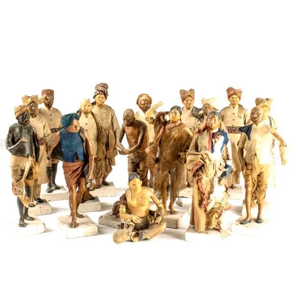 19th Century Unfired Krishnanagar Clay Dolls
