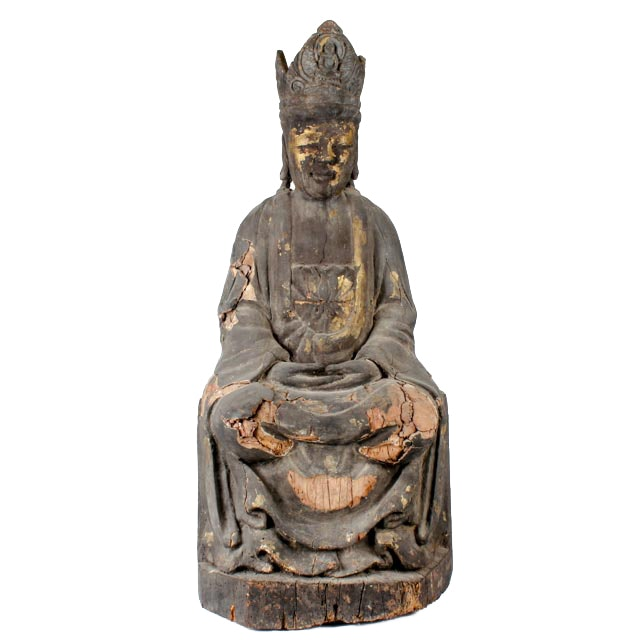 Early 20th Century Chinese Bodhisattva Wood Sculpture