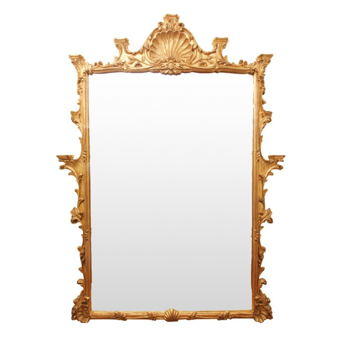 Antique French Provincial Style Large Gold Wall Mirror