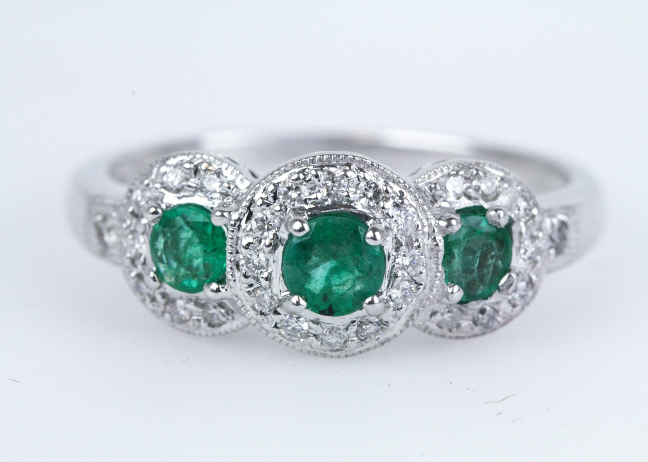 D'Vach 18K White Gold, Emerald, and Diamond Ring