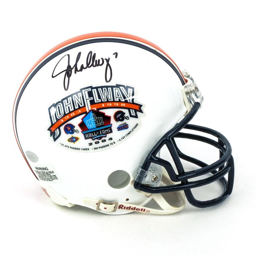 fe7542686 John Elway Autographed Mini Hall of Fame Helmet   EBTH