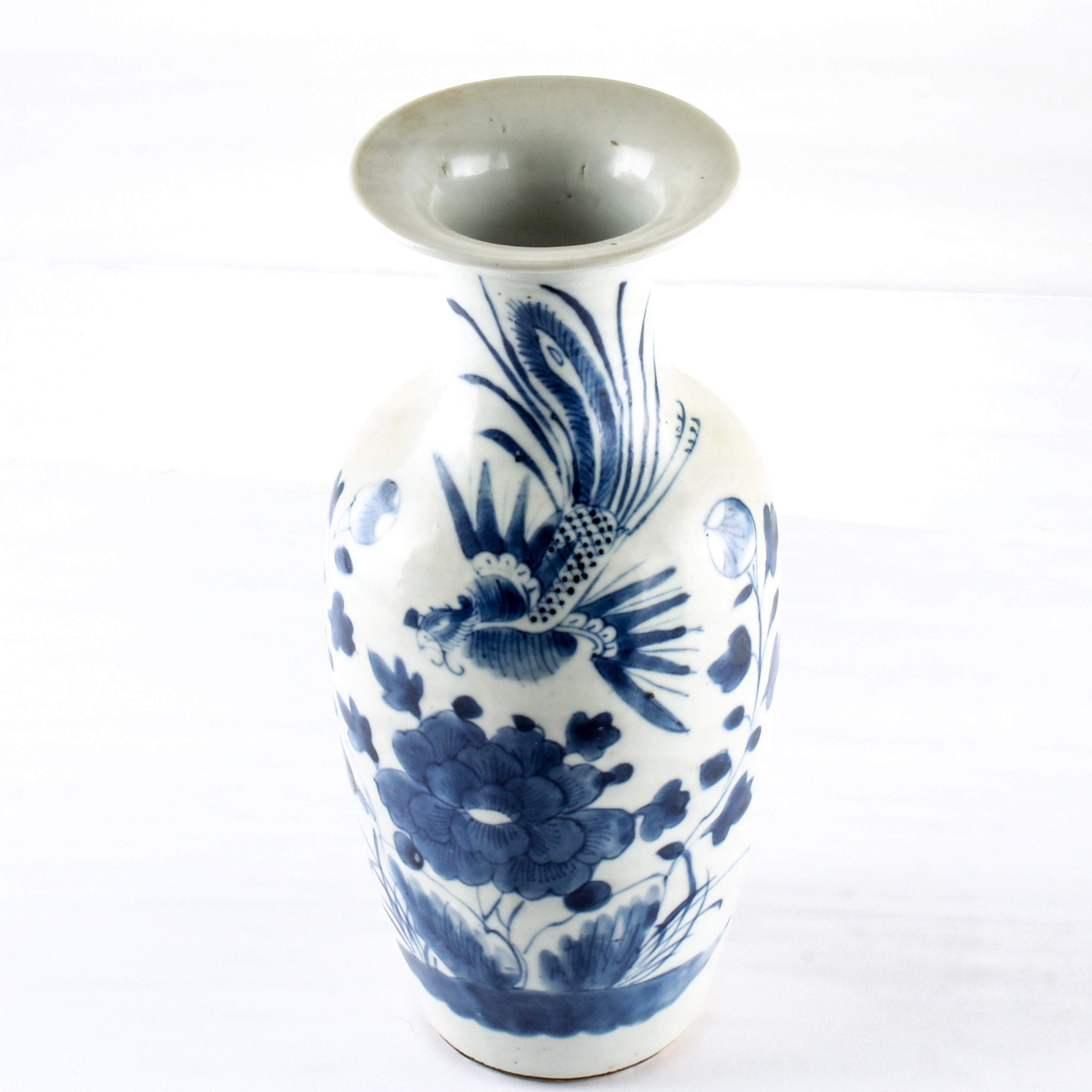 Antique Chinese Hand Thrown Blue and White Vase