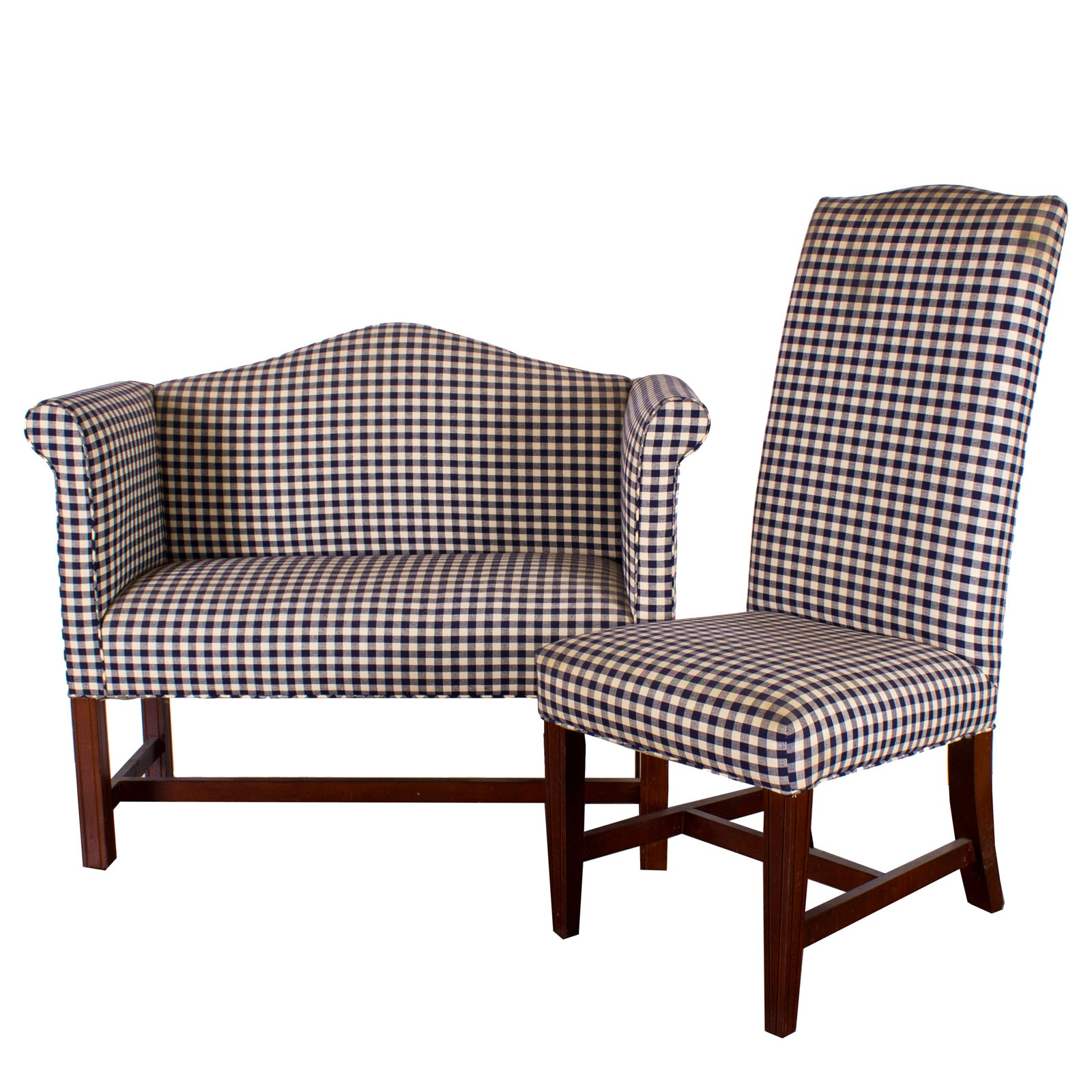 Pair Of Johnston Benchworks Upholstered Gingham Accent Chairs ...
