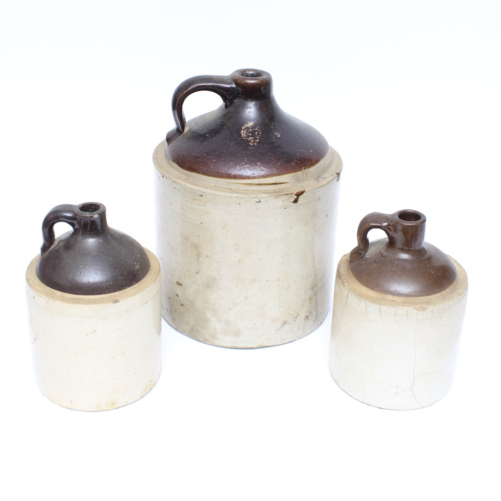 Grouping of Vintage Hand Thrown Stoneware Jugs