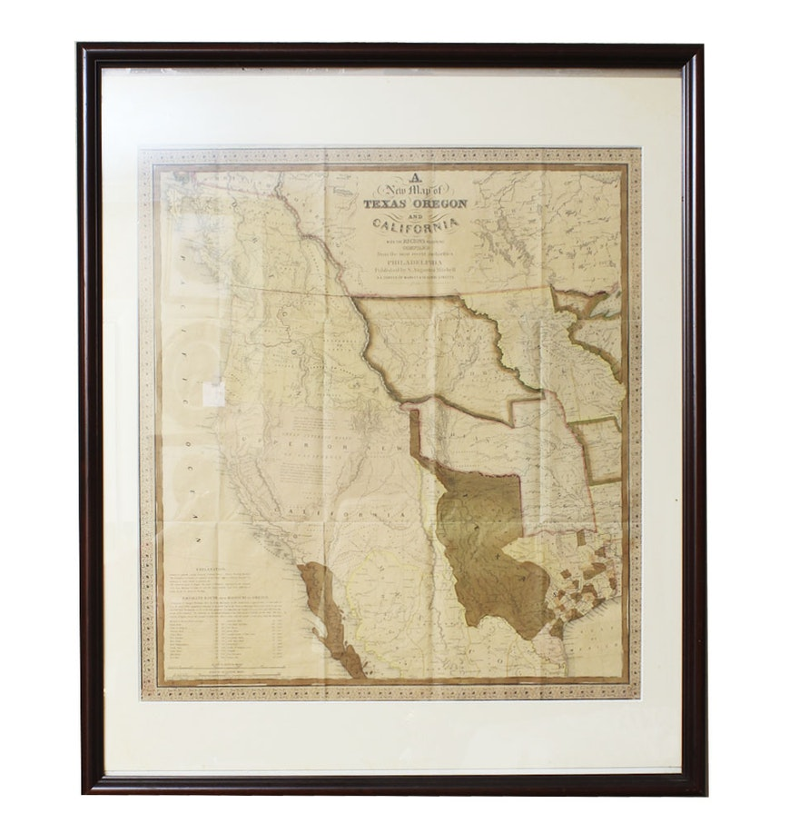 1846 map of texas oregon and california framed under glass