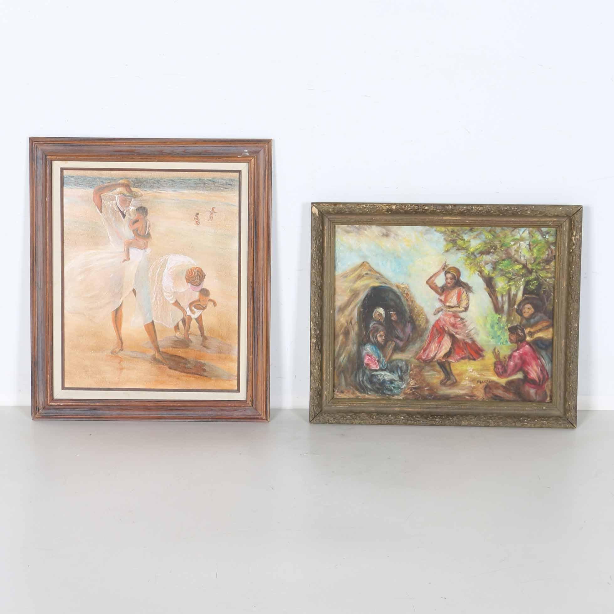 Oil on Canvas Figural Scene Paintings