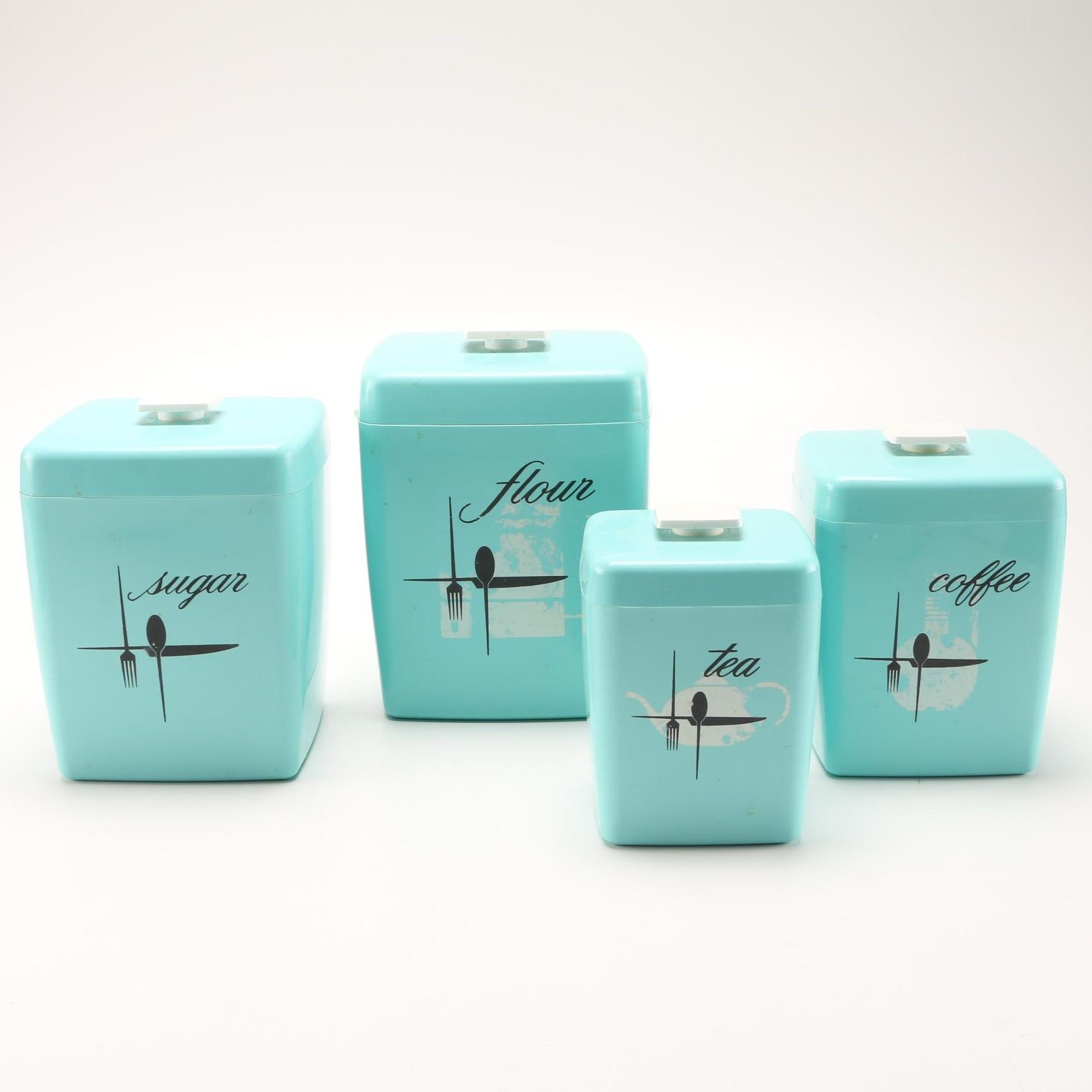 1960s teal kitchen nesting canisters ebth