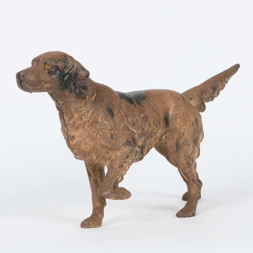 Vintage Cast Iron Dog Door Stop Ebth