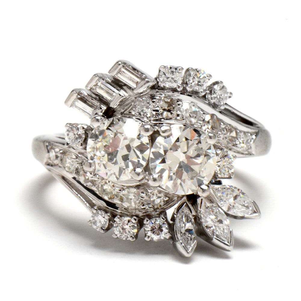 Vintage Platinum and Diamond Cocktail Ring with 2.30 CTW in Mixed Cut Diamonds