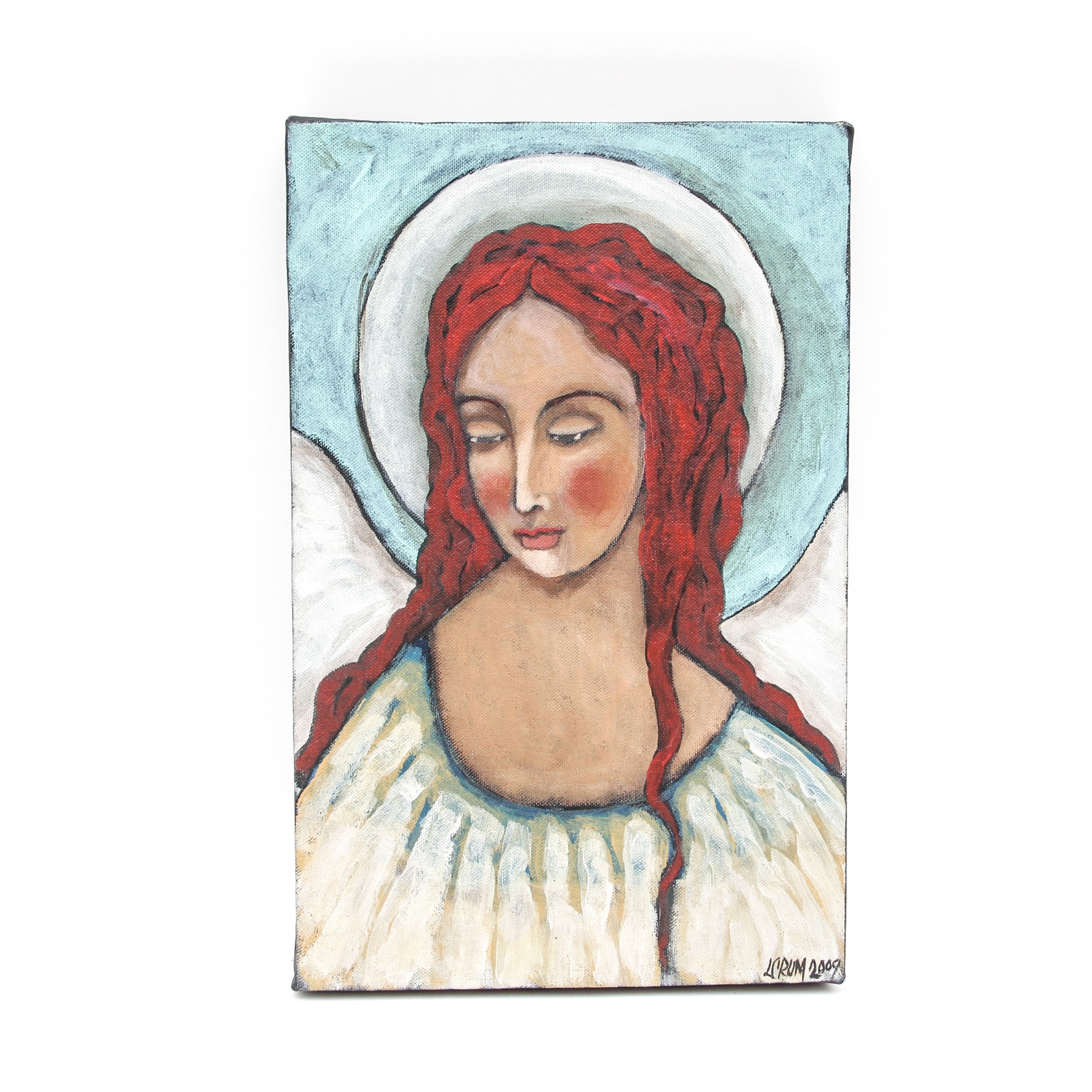 L Crum Original Oil Painting of An Angel