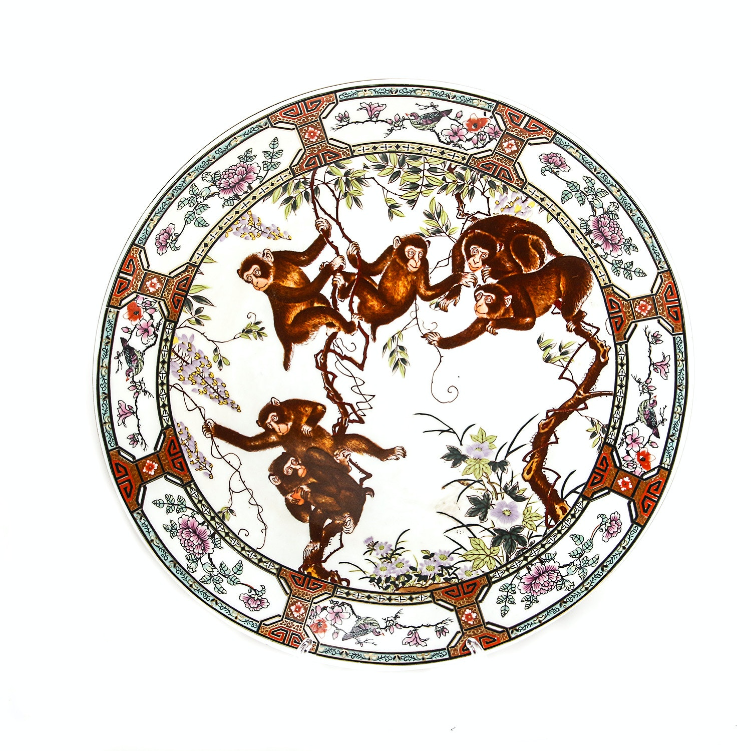 Chinese Porcelain Round Platter with Monkeys
