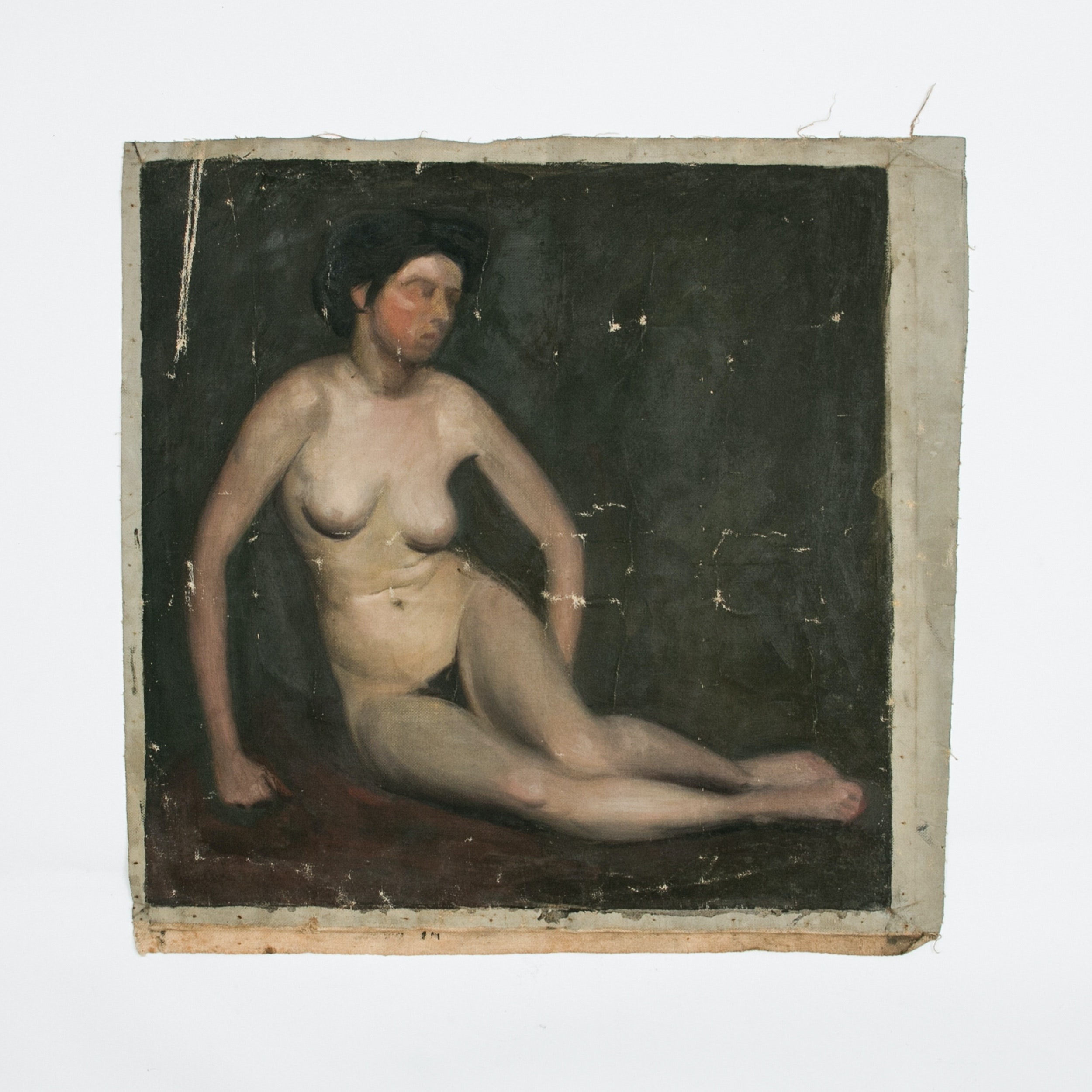 Emily B. Waite, Study of a Seated Female Nude, Oil on Unstretched Canvas