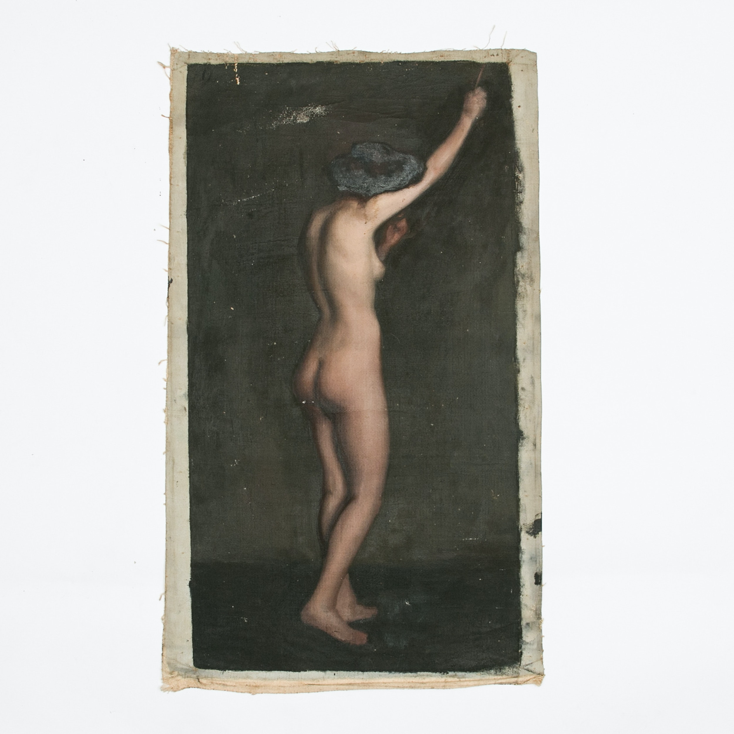 Emily B. Waite, Study of a Nude with Raised Arm, Oil on Unstretched Canvas