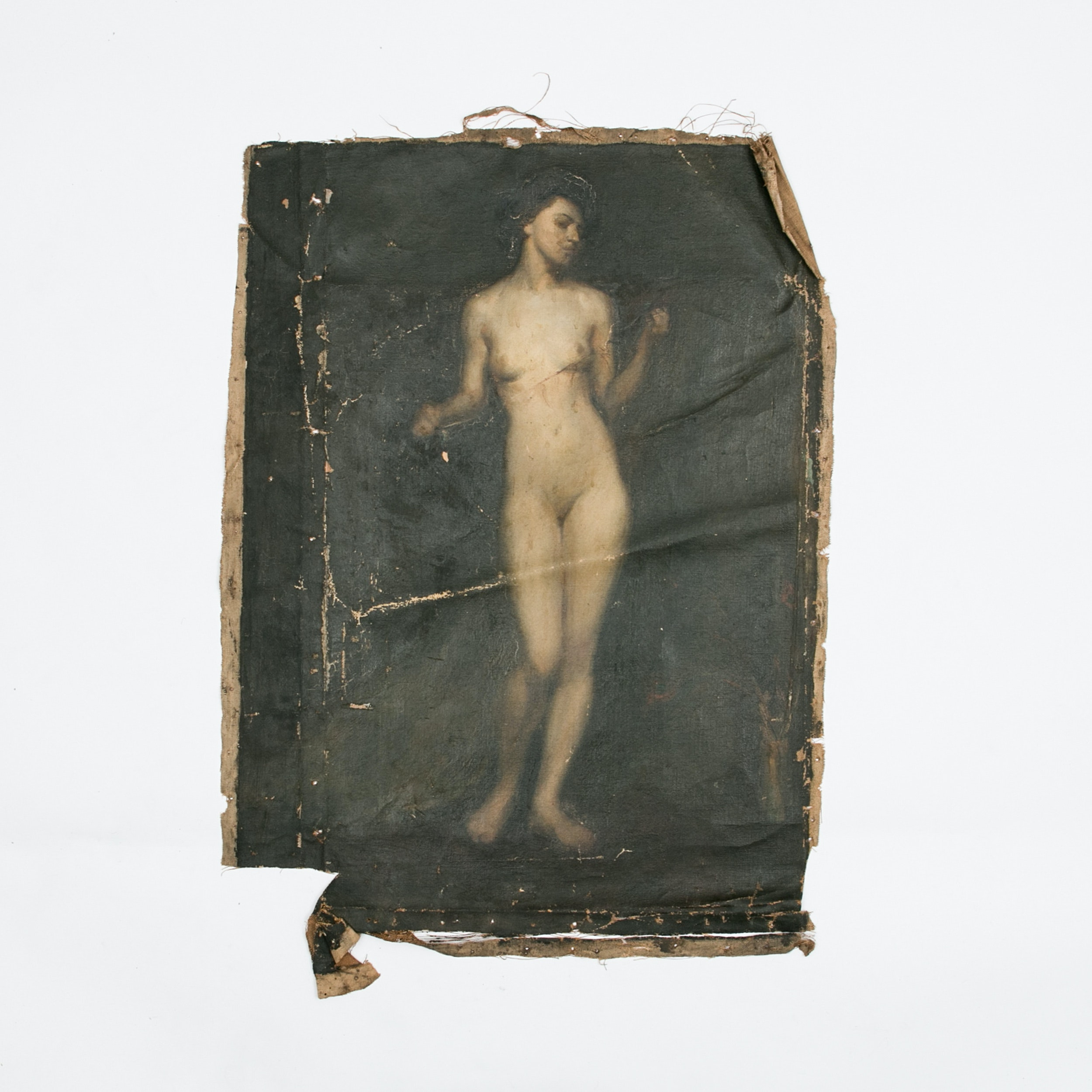 Emily B. Waite, Study of a Female Nude, Unstretched Oil on Canvas